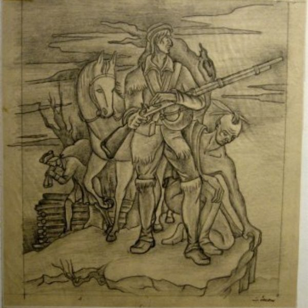 """Henry Simon's Sketch for mural of James Fenimore Cooper """"The Leather Stocking"""" & """"Last of the Mohicans"""""""