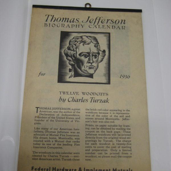 Charles Turzak's Thomas Jefferson Biography Calendar 1936