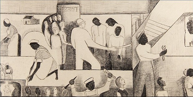 The Negro in Professional Life - Mural Study featuring Women in the Workplace