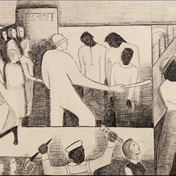 Thelma Johnson Streat's The Negro in Professional Life - Mural Study featuring Women in the Workplace