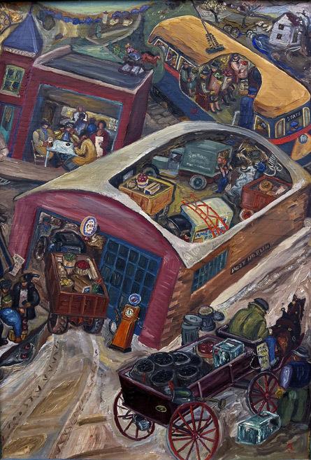 Untitled (Street scene with cutaway interiors)