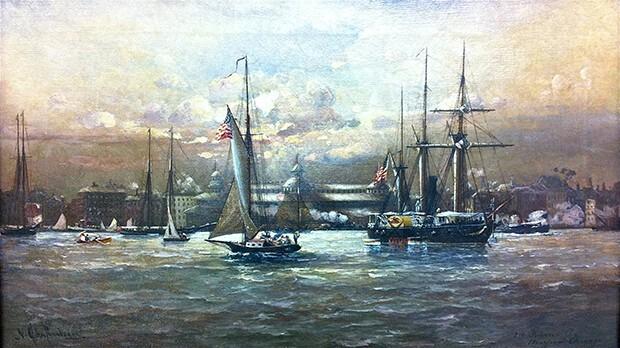 Untitled (Ships on Lake Michigan)